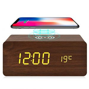 Wooden Alarm Clock With Wireless Charging