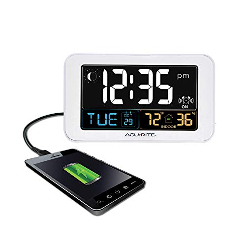 Alarm Clock USB Charger Indoor Temp.